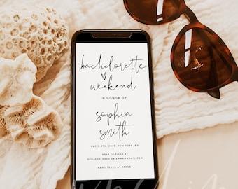 Bachelorette Party Invitation Template, Electronic Bachelorette Weekend Itinerary Invitation, Editable Evite, Instant Download, Templett, M8