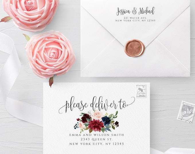 Floral Envelope Template Wedding Editable DIY Printable Wedding Envelope A7 A6 A1 Envelope Address Template Instant Download Templett F3