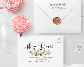 Floral Envelope Template Wedding Editable DIY Printable Wedding Envelope A7 A6 A1 Envelope Address Template Instant Download Templett F5