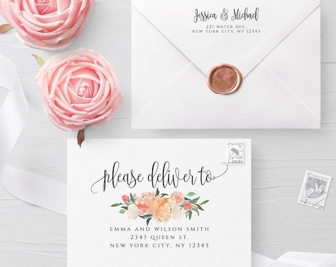 Floral Envelope Template Wedding Editable DIY Printable Wedding Envelope A7 A6 A1 Envelope Address Template Instant Download Templett F1