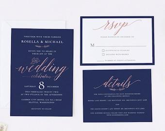 Modern Wedding Invitation Set, Navy, Rose Gold, Calligraphy, Minimalist, RSVP, Details, Editable Template, Instant Download, Templett, N1