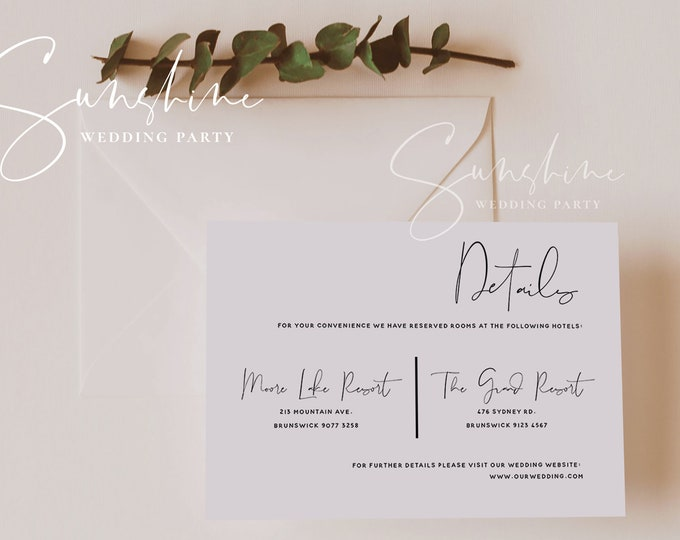 Modern Wedding Details Card Template, Printable Accommodations Card, Editable Information Card, Minimalist, Instant Download, Templett, M4