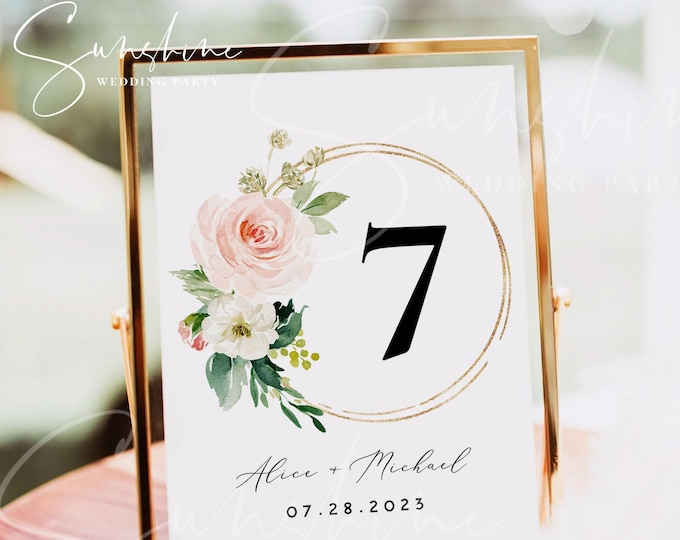 Blush White Floral Wedding Table Number Sign Template, Printable Wedding Table Number Card Template, Editable Instant Download Templett, F5A