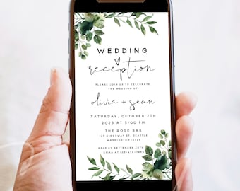 Electronic Wedding Reception Invitation Template, Greenery Reception Evite Template, Digital Reception Invite, Instant Download, Templett G5