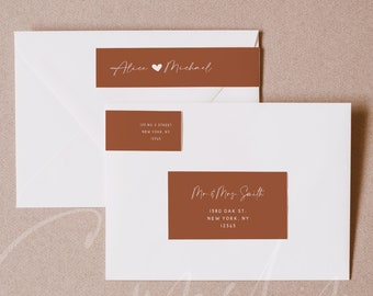 Terracotta Wedding Envelope Label Template, Printable Return Sticker, Recipient Address Sticker, Editable, Instant Download, Templett, T1