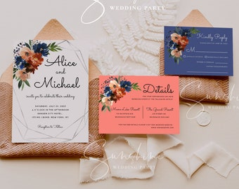 Navy & Coral Floral Wedding Invitation Suite Template Printable Wedding Invitation Kit Editable Wedding Invite Instant Download Templett F11