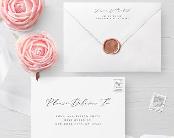 Calligraphy Envelope Template Wedding Editable DIY Printable Wedding Envelope A7 A6 Envelope Address Template Instant Download Templett R3