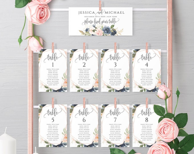 Navy Blush Wedding Seating Chart Template Printable Table Seating Plan Templates Hanging Cards Editable Text Instant Download Templett F6