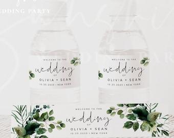Water Bottle Label Template, Greenery Wedding Water Bottle Labels, DIY Wedding Labels, Editable Template, Instant Download, Templett, G5