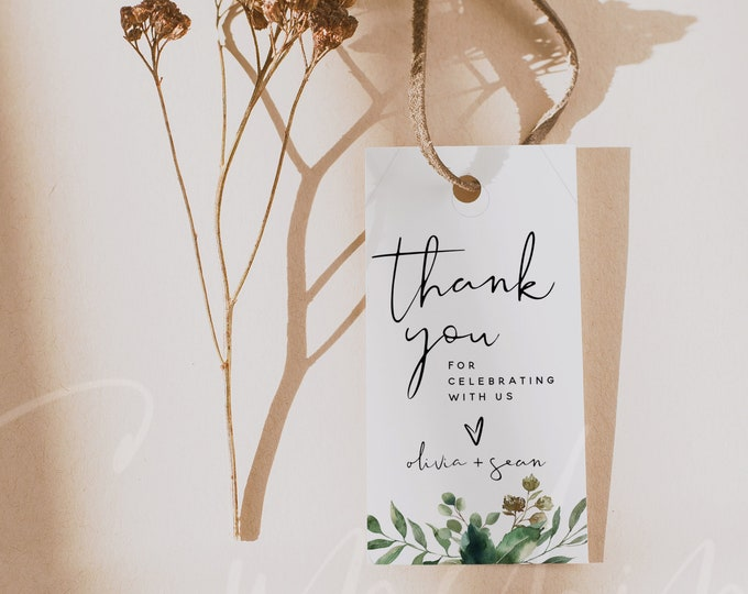 Wedding Thank You Favor Tags Template, Greenery Thank You Favor Tags, Printable Thank You Tags, Wedding Favor Tags, Instant Download, G5