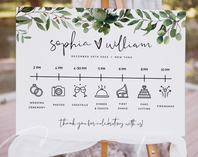 Greenery Wedding Itinerary Sign Template, Wedding Timeline Sign Template, Printable Itinerary Sign, Order of Events Sign Instant Download G5