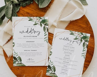 Greenery Wedding Program Cards Template, Printable Greenery Wedding 5x7 Program Card Template, Editable Text, Instant Download, Templett, G5