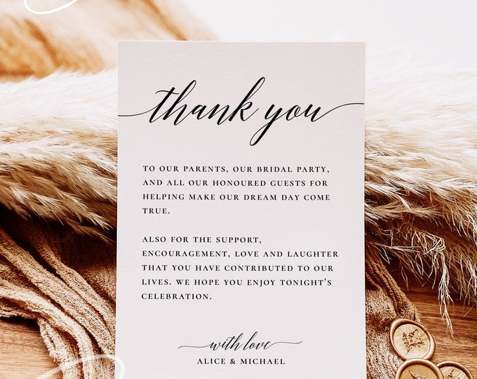 Wedding Thank You Letter Template, Minimalist Thank You Card, Modern Thank You Note, Printable Thank You Card, Editable, Instant Download R2