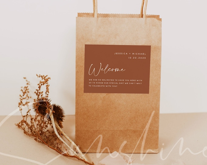 Terracotta Wedding Welcome Bag Label Template, Modern Wedding, Minimalist Elegant Label, Editable & Printable, Instant Download Templett, T1