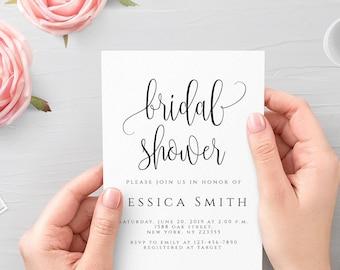 Bridal Shower Invitation Template Editable Bridal Shower Invitation template Elegant Bridal Shower Invite Instant Download 5x7 PDF JPEG R1
