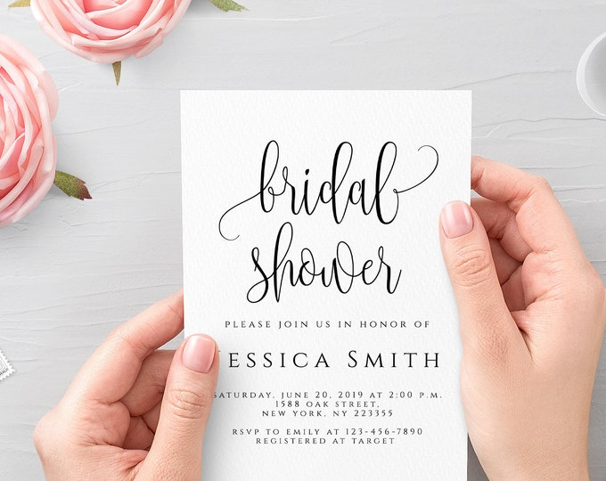 Bridal Shower Invitation Template Editable Bridal Shower Invitation template Elegant Bridal Shower Invite Instant Download 5x7 PDF JPEG R1