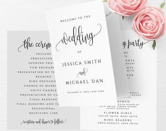 Folded Wedding Program Template Folded Wedding Program Printable Editable Folded Wedding Program Template DIY Instant Download Templett R1
