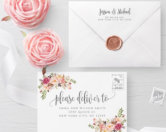 Floral Envelope Template Wedding Editable DIY Printable Wedding Envelope A7 A6 A1 Envelope Address Template Instant Download Templett F4