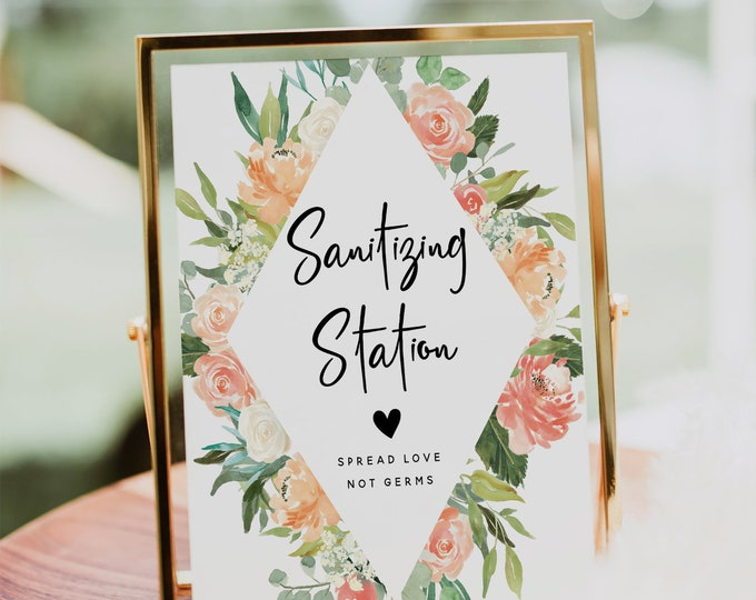 Sanitizing Station Sign, Covid Wedding Sign, Sanitizer Station, Hand Sanitizer Sign, Printable Sign, Floral Wedding, Instant Download, F1