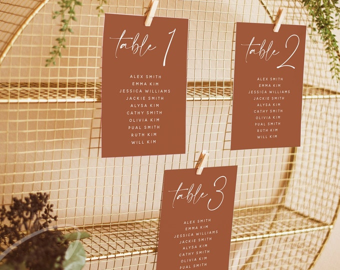 Terracotta Wedding Table Seating Card Template, Printable Seating Chart Sign, Table Number Signs, Editable, Instant Download, Templett, T1