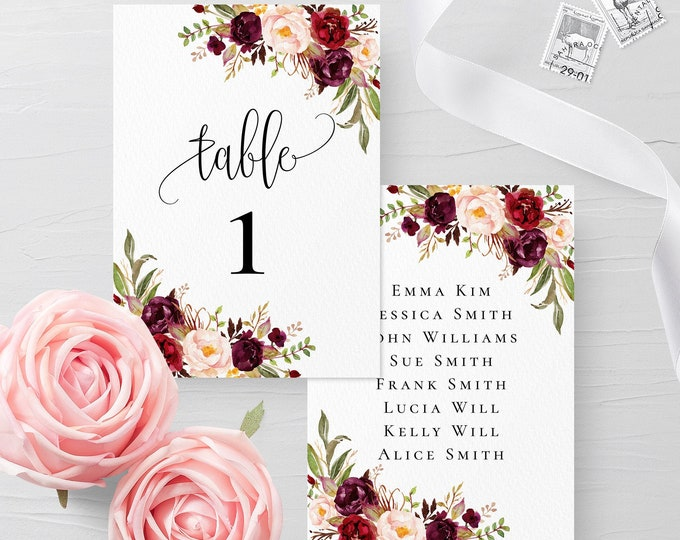 Table Card Template Wedding Table Number Printable Wedding Table Card Boho Floral 100% Editable INSTANT DOWNLOAD Flat Table Card Templett F2