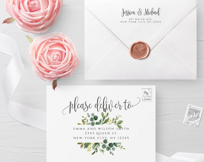 Greenery Envelope Template Wedding Editable DIY Printable Wedding Envelope A7 A6 A1 Envelope Address Template Instant Download Templett G3