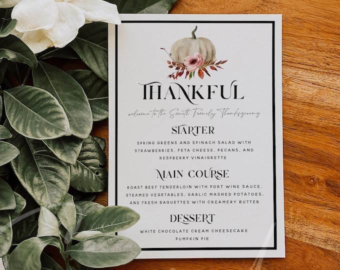 Thanksgiving Menu Template, Thanksgiving Dinner Menu, Pumpkin Party Menu, Printable Thanksgiving Menu, Thankful Menu, Instant Download, TG6