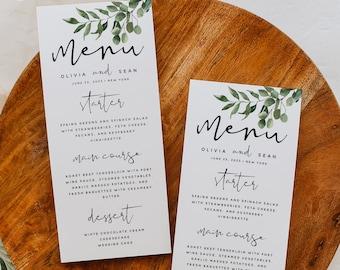 Greenery Menu Template, Wedding Menu, Greenery Wedding Menu, DIY Printable Menu, Instant Download, Reception Dinner Menu, 100% Editable, G5