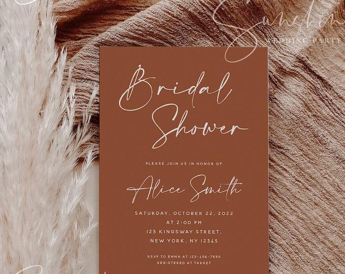 Terracotta Bridal Shower Invitation Template, Printable Burnt Orange Bridal Shower Invite, Modern Minimalist Boho Rustic Instant Templett T1