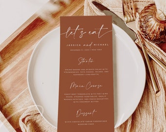 Terracotta Wedding Menu Template, Modern Minimalist Wedding Dinner Menu, Printable, Instant, Reception Dinner Menu, 100% Editable, DIY, T1