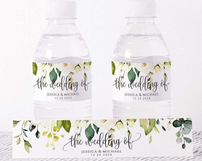 Wedding Water Bottle Label Template, Printable, White Floral Labels, DIY Wedding Label, Instant Download, 100% Editable Text, Templett, F7