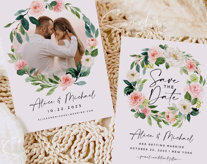 Blush Floral Photo Save the Date Template, Marsala Wedding Save the Date Electronic Save the Date Save the Date Instant Download Templett F5