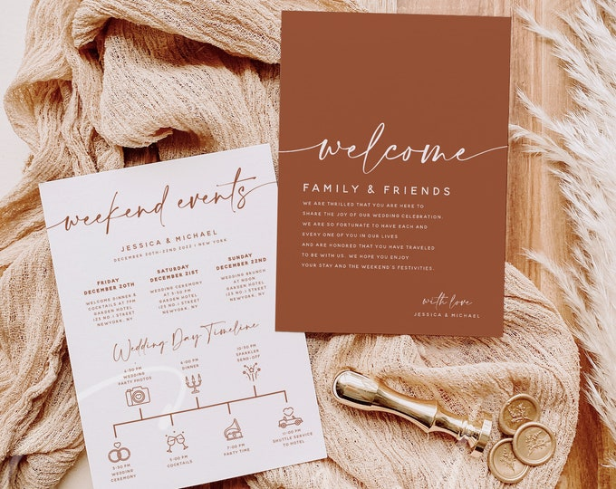 Terracotta Welcome Letter & Timeline Template, Modern Itinerary, Earthy Wedding Order of Events, Instant Download, Editable, Templett, T1
