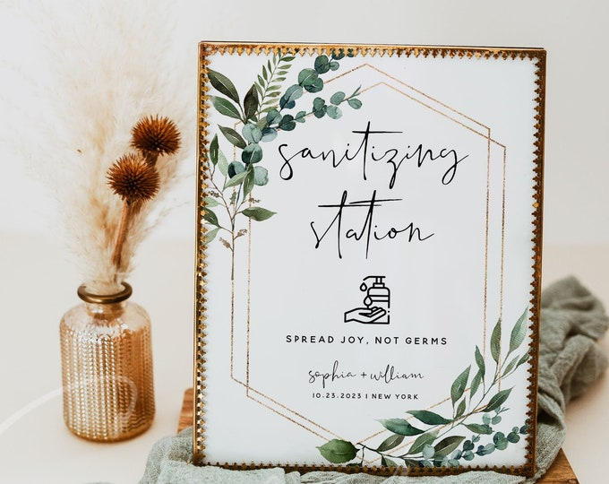 Greenery Sanitizing Station Sign Template, Greenery Wedding Covid Sign, Printable Greenery Wedding Sign, Editable Text, Instant Download, G5