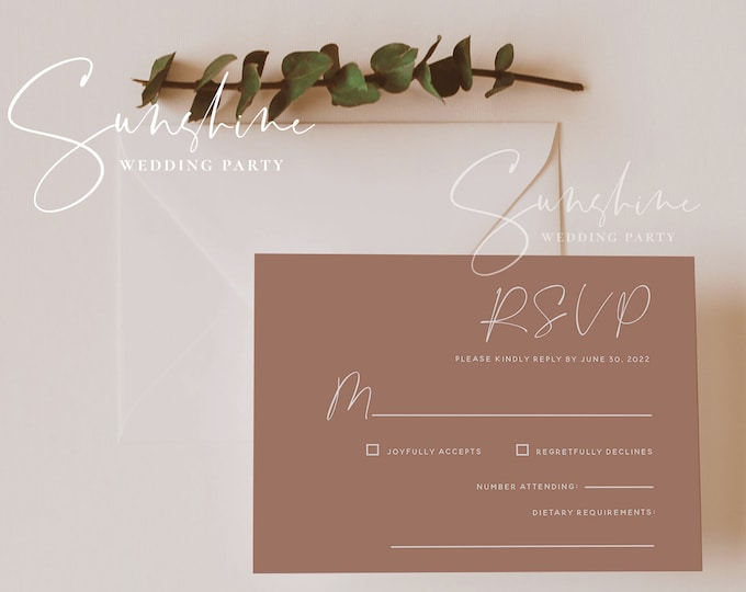 Terracotta Wedding RSVP Template, Printable RSVP Cards, Burnt Orange Wedding RSVP, Modern Minimal Boho Rustic, Instant Download, Templett T1
