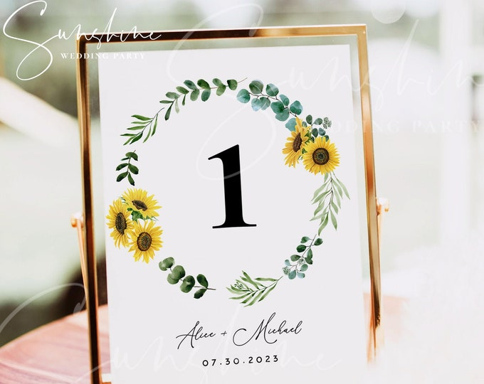 Sunflower Eucalyptus Wedding Table Number Sign Template, Printable Wedding Table Number Card Template Editable Instant Download Templett F13