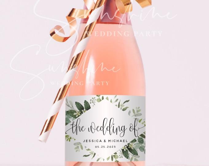 Eucalyptus Greenery Mini Champagne Bottle Label Template, Marsala Wedding Label, 100% Editable, Printable Label Instant Download Templett G3