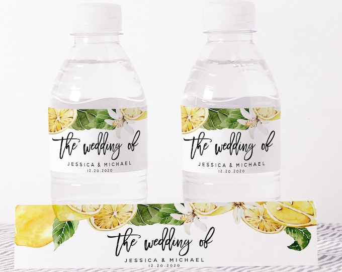 Lemon Wedding Water Bottle Label Template, Water Bottle Bands, Editable Text, Printable Label, Shower Favors, Instant Download, Templett, L1