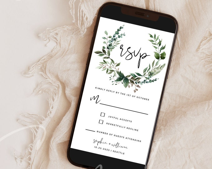 Electronic RSVP Template, Greenery Wedding, E-RSVP Wedding Evite Template, Editable Wedding RSVP Template, Instant Download, Templett, G5