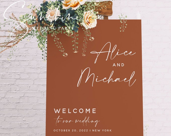 Terracotta Wedding Welcome Sign Template, Modern Minimalist Welcome Sign, Printable Welcome Sign, Editable Welcome Sign, Instant Download T1
