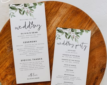 Greenery Wedding Program Cards Template, Printable Greenery Wedding Long Program Card Template, Editable Text, Instant Download, Templett G5