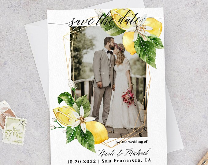Photo Save the Date Template, Lemon Wedding, Engagement Photo Save the Date, DIY Printable, Editable DIY, Save the Date Picture Template, L1