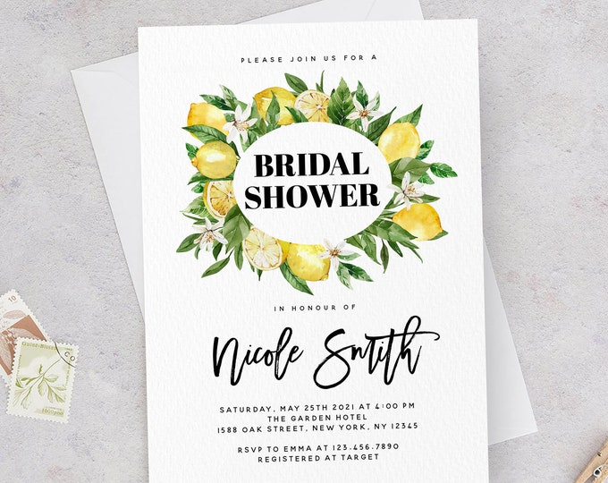 Boho Lemon Wreath Bridal Shower Invitation Template, Rustic Lemon Invite, Bridal Shower Invitation Template, Instant Download, Templett, L1