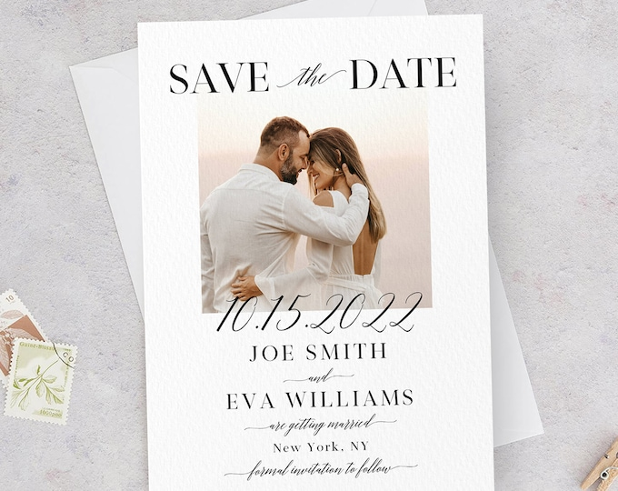 Photo Save the Date Template, Minimalist Wedding, Modern Engagement Photo Save the Date, DIY Printable, Editable DIY, DIY Save the Date, R2