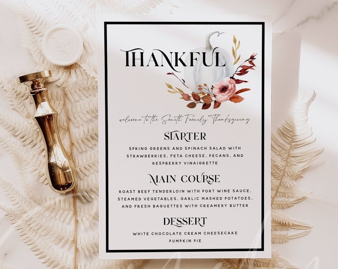 Thanksgiving Menu Card Template, Pumpkin Thanksgiving Dinner Menu Template, Modern Thankful Menu Printable, Instant Download, Templett, TG4