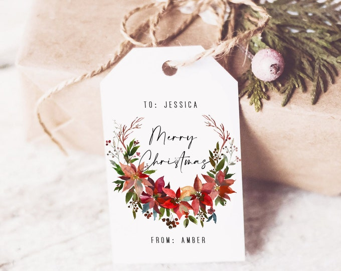 Christmas tags printable, christmas gift tags, holiday favor tags, Personalized Christmas Tags, Editable with TEMPLETT, instant download
