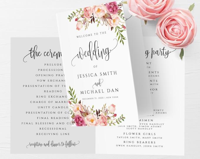Marsala Folded Program Template Wedding Folded Program Printable Editable Folded Wedding Program Template DIY Instant Download Templett F4
