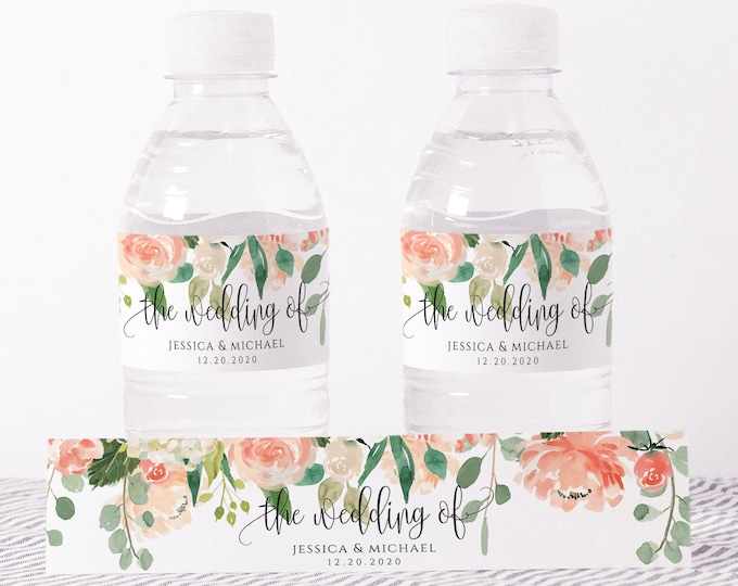 Wedding Water Bottle Label Template, Printable, Peach Floral Labels, DIY Wedding Label, Instant Download, 100% Editable Text, Templett, F1