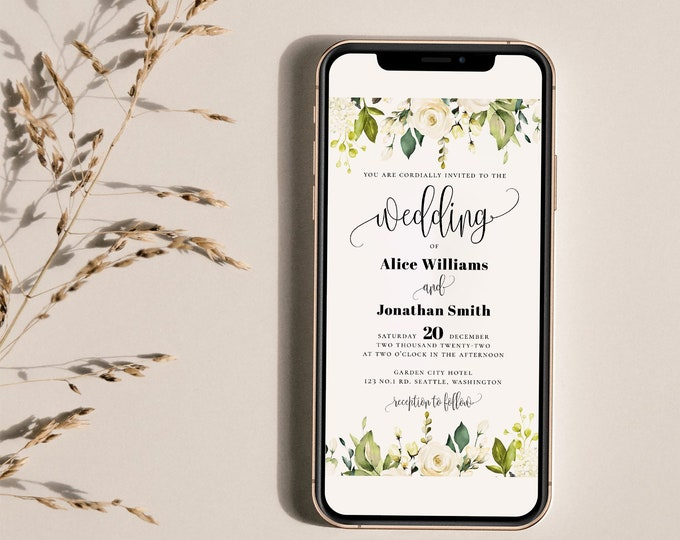 Wedding Electronic Invitation Template, White Floral Evite Wedding, Wedding Evite Template, E-Invite Wedding, Instant Download, Templett, F7