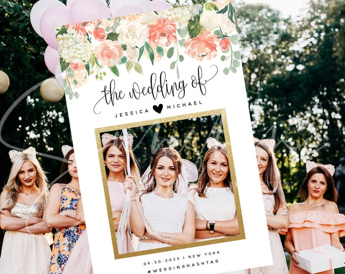 Peach Floral Wedding Photo Prop Booth Frame Sign Template Floral Selfie Frame Prop Frame Editable Printable Template INSTANT Templett F1